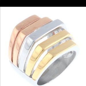 Three Tone Stainless Steel Ring Size 6 NWT